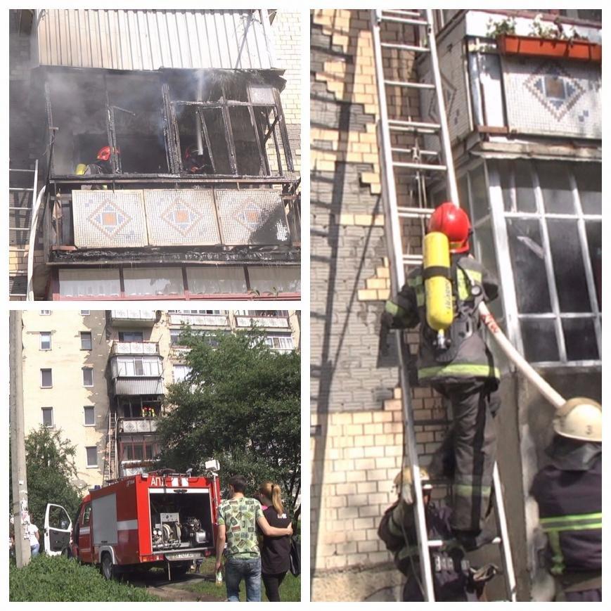 У Хмельницькому на третьому поверсі рятувальники гасили пожежу (ФОТО, ВІДЕО), фото-1