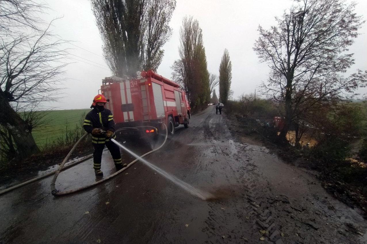 На Хмельниччині завантажена вантажівка MAN злетіла у кювет, фото-2