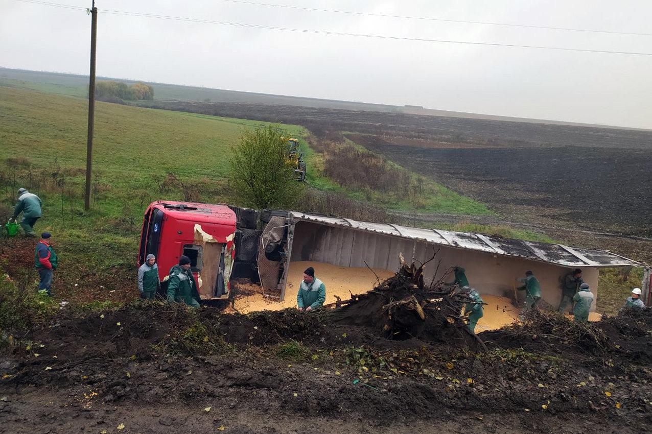 На Хмельниччині завантажена вантажівка MAN злетіла у кювет, фото-1